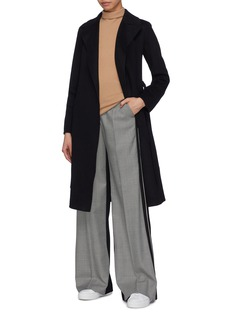 Theory Belted cashmere melton wrap trench coat