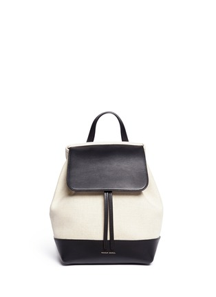 Main View - Click To Enlarge - Mansur Gavriel - Mini leather canvas combo backpack