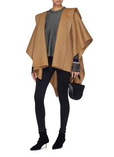 Theory Belted wool-cashmere melton poncho
