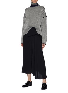 Theory Colourblocked collar stripe oversized cashmere sweater