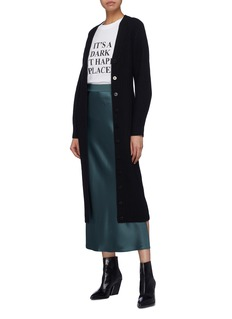 Theory Sculpted sleeve Merino wool rib knit long cardigan
