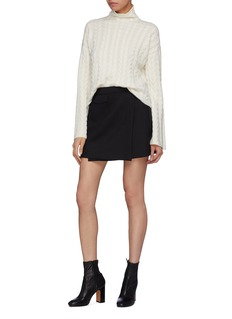 Theory Bell sleeve cashmere cable knit turtleneck sweater