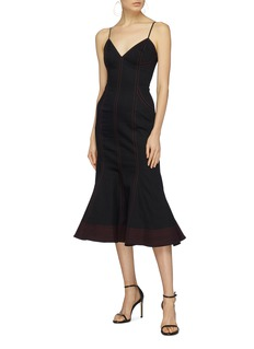 C/Meo Collective  'Harmonious' contrast topstitching flared camisole dress