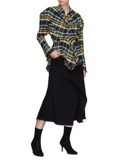 Ground Zero Puff shoulder tartan plaid flannel peplum shirt