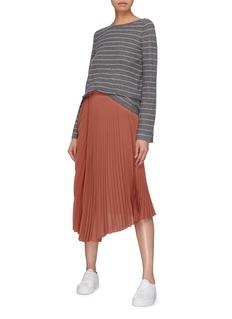 Vince Bell sleeve scoop back stripe cashmere sweater