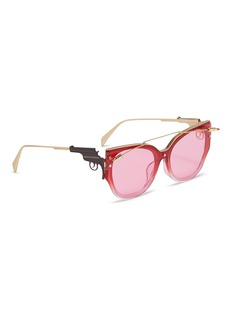WHATEVER EYEWEAR Lipstick brow bar acetate front metal round sunglasses