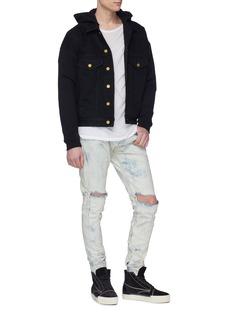 Fear of God Contrast sleeve hooded denim trucker jacket