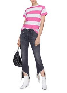 R13 'Kick Fit' shredded flared cuff jeans