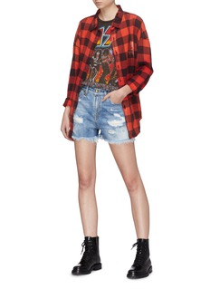 R13 'Shredded Slouch' frayed ripped denim shorts