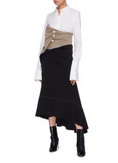 KIMHĒKIM 'Venus' faux pearl button gathered drape houndstooth corset