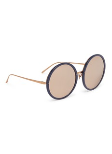 LINDA FARROW VINTAGE Mirror acetate rim oversized metal round sunglasses