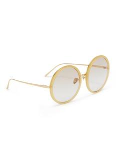 Linda Farrow Acetate rim oversized metal round sunglasses