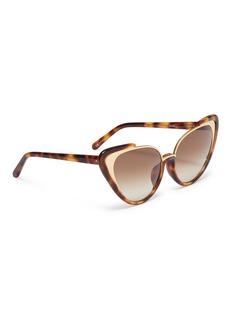 Linda Farrow Metal front tortoiseshell acetate cat eye sunglasses