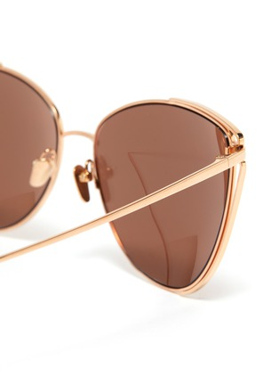 Detail View - Click To Enlarge - LINDA FARROW - Large metal cage frame cateye sunglasses