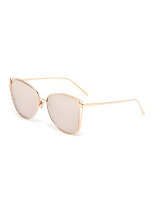 Main View - Click To Enlarge - LINDA FARROW - Large metal cage frame cateye sunglasses