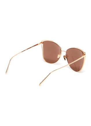 Figure View - Click To Enlarge - LINDA FARROW - Large metal cage frame cateye sunglasses