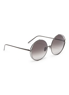 LINDA FARROW VINTAGE Cutout front metal round sunglasses