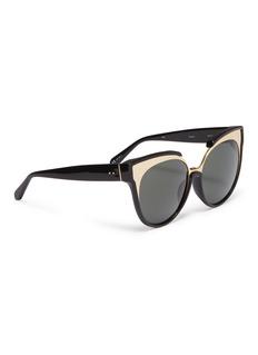 Linda Farrow Metal front acetate cat eye sunglasses