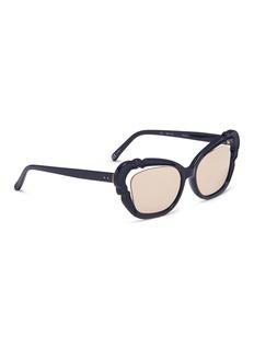 Linda Farrow Cutout mirror acetate cat eye sunglasses