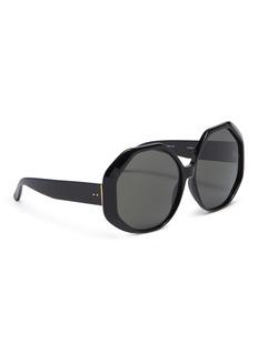 Linda Farrow Oversized acetate hexagon frame sunglasses