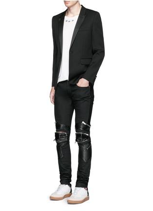 Figure View - Click To Enlarge - SAINT LAURENT - Leather knee guard motocross jeans