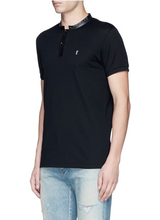 Front View - Click To Enlarge - SAINT LAURENT - Leather band collar cotton piqué polo shirt
