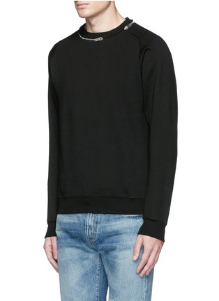 Front View - Click To Enlarge - SAINT LAURENT - Zip crew neck sweatshirt