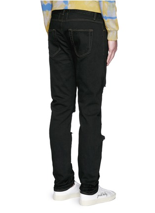 Back View - Click To Enlarge - SAINT LAURENT - Distressed skinny jeans