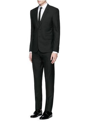 Figure View - Click To Enlarge - SAINT LAURENT - Notched lapel wool hopsack suit