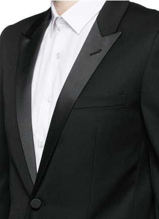 Detail View - Click To Enlarge - SAINT LAURENT - Satin peak lapel virgin wool tuxedo suit