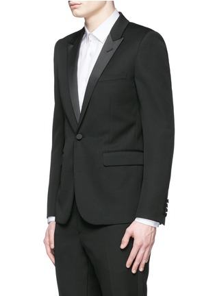 Front View - Click To Enlarge - SAINT LAURENT - Satin peak lapel virgin wool tuxedo suit