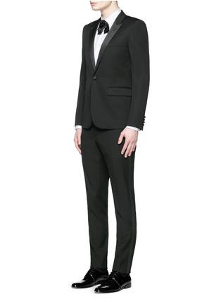 Figure View - Click To Enlarge - SAINT LAURENT - Satin peak lapel virgin wool tuxedo suit