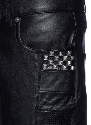 Detail View - Click To Enlarge - SAINT LAURENT - Textured panel stud leather pants