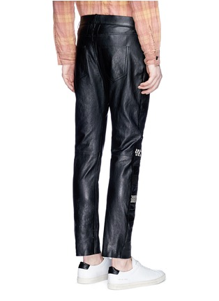 Back View - Click To Enlarge - SAINT LAURENT - Textured panel stud leather pants