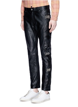 Front View - Click To Enlarge - SAINT LAURENT - Textured panel stud leather pants