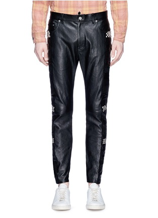 Main View - Click To Enlarge - SAINT LAURENT - Textured panel stud leather pants