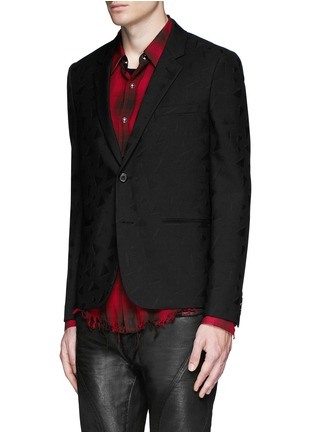 Front View - Click To Enlarge - SAINT LAURENT - Triangle jacquard wool twill blazer