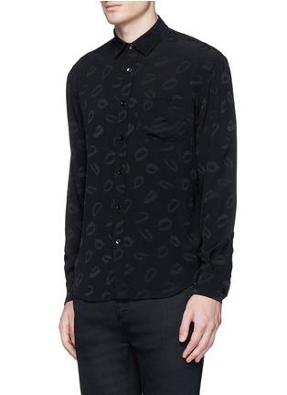 Front View - Click To Enlarge - SAINT LAURENT - Lip jacquard crepe shirt