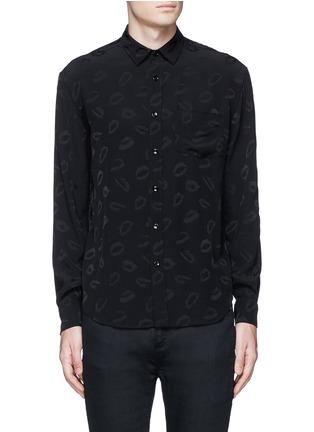 Main View - Click To Enlarge - SAINT LAURENT - Lip jacquard crepe shirt