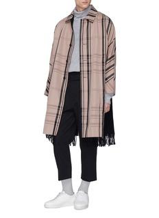 FFIXXED STUDIOS Fringe scarf panel tartan plaid twill coat
