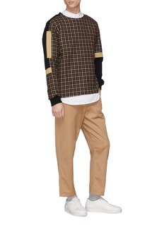 FFIXXED STUDIOS Colourblock tartan plaid patchwork sweatshirt