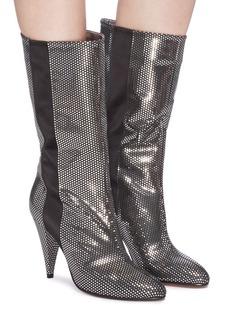 Alchimia di Ballin 'Mizar' satin stripe mirror polka dot mid calf boots