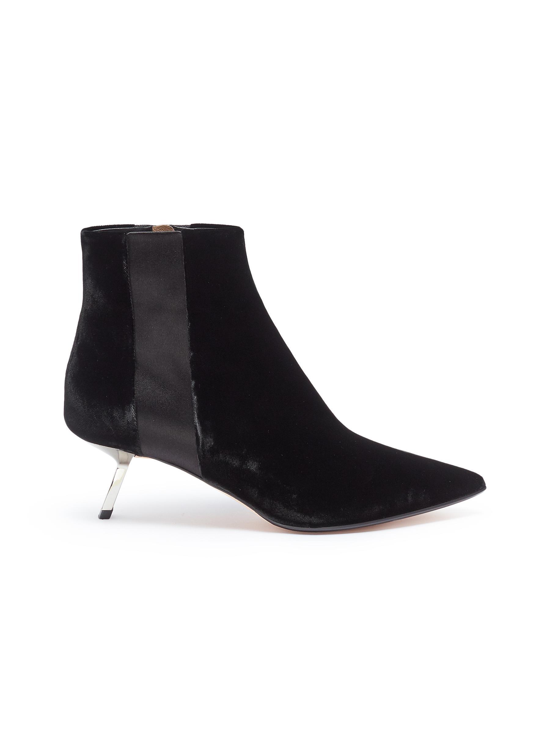 Libra slanted heel satin stripe velvet ankle boots by Alchimia di Ballin