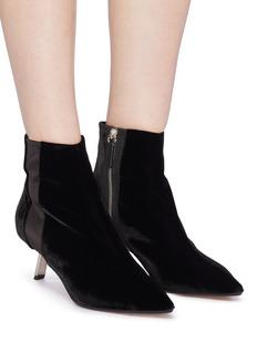 Alchimia di Ballin 'Libra' slanted heel satin stripe velvet ankle boots