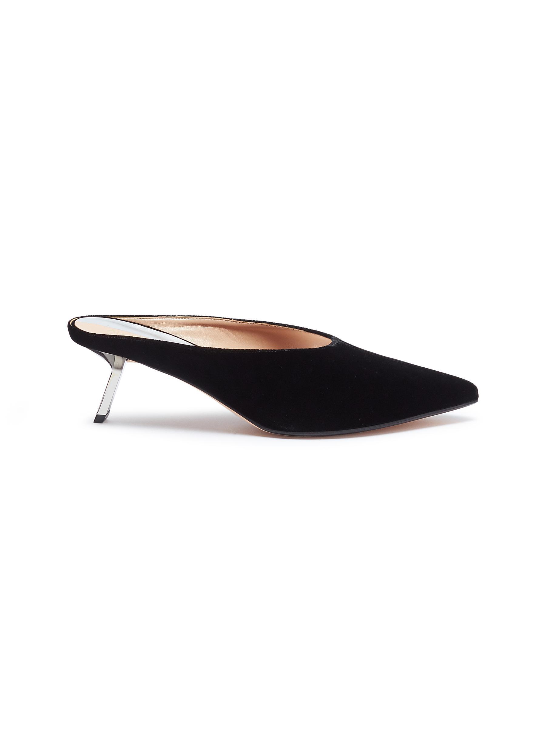 Aster slanted heel velvet mules by Alchimia di Ballin