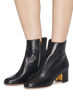 Salvatore Ferragamo 'Noceto' hollow heel leather ankle boots