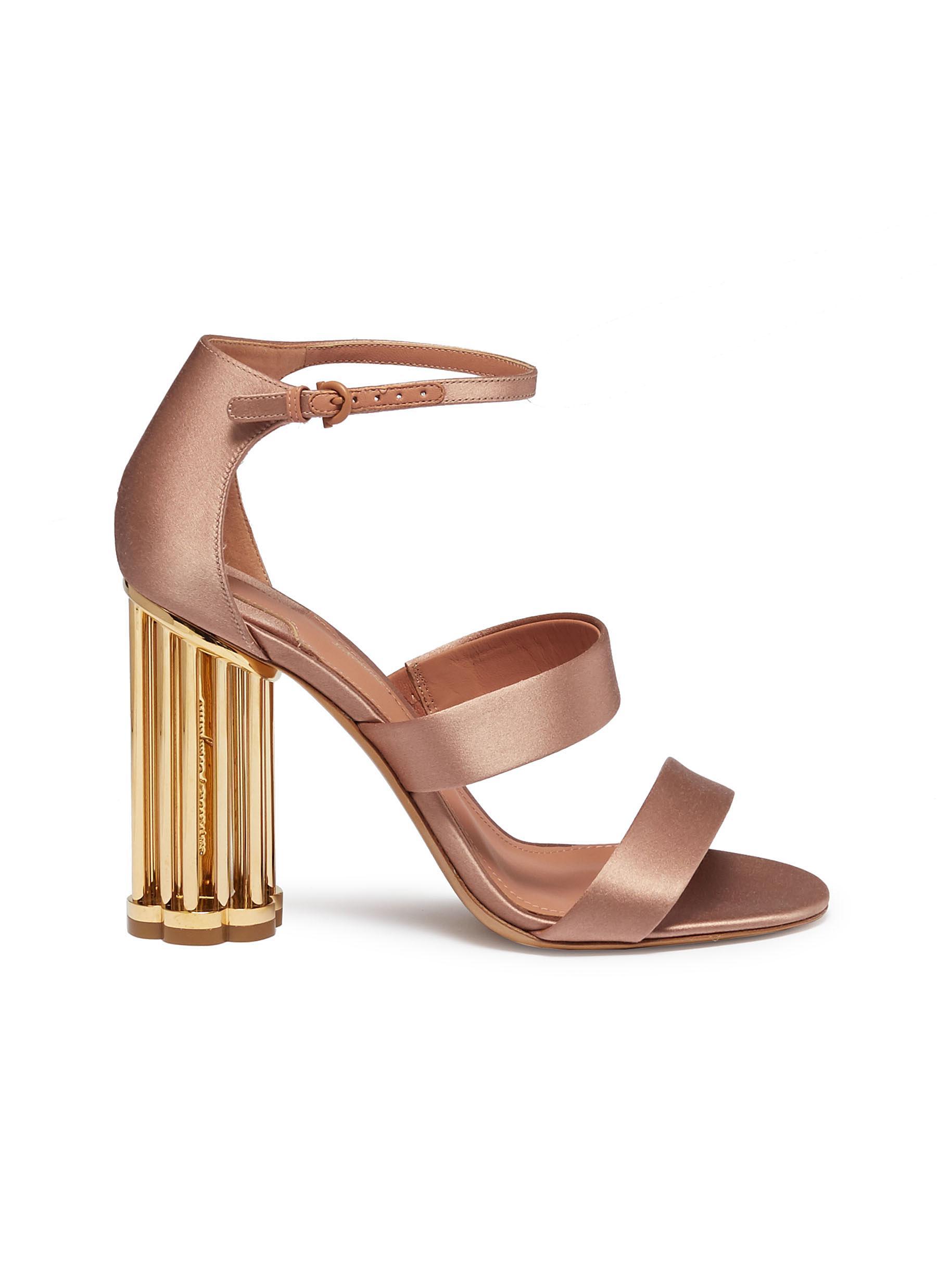 a5245917b2cc Salvatore Ferragamo.  Daiano  cage flower heel ankle strap satin sandals
