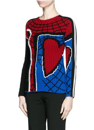 Front View - Click To Enlarge - Valentino - 'Super-H' Spiderman intarsia wool sweater