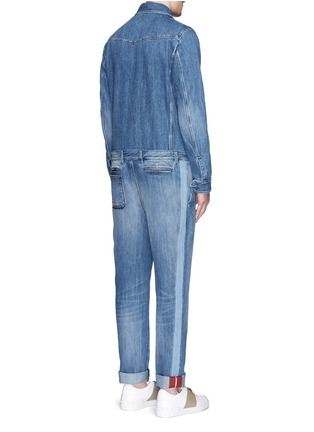 Back View - Click To Enlarge - Valentino - Tuxedo stripe denim combo jumpsuit