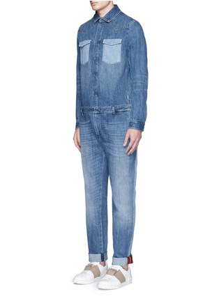 Front View - Click To Enlarge - Valentino - Tuxedo stripe denim combo jumpsuit